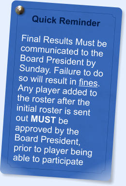 Quick Reminder  Final Results Must be communicated to the Board President by Sunday. Failure to do so will result in fines.  Any player added to the roster after the initial roster is sent out MUST be approved by the Board President, prior to player being able to participate